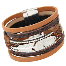 Multilayer Leather and Feather Magnetic Charm Bracelet - Vegan Friendly