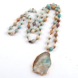 Bohemian Tribal Jewelry With Amazonite Stone Pendant Necklace