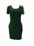 Leisure Round Neck Patchwork Wine Red/Green Polyester Sheath Mini Dress