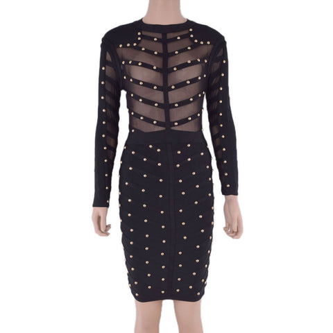 Nail Beaded Mesh Studded Sexy Women Bodycon Knee Length 2016 New Long Sleeve Bandage Dresses Rayon Black Olive Green Red