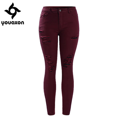 2056 Youaxon Women`s Plus Size Burgundy Mid High Waisted Stretch Ripped Skinny Jeans Pants For Woman
