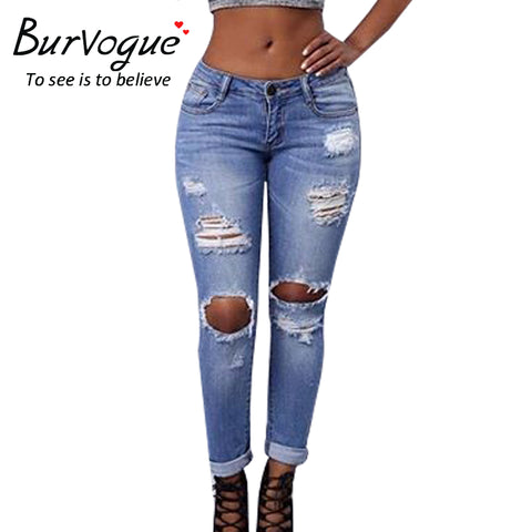 Burvogue New Ripped Jeans for Women Hollow Out Jeans Femme Skinny Butt Lifting Pencil Jeans Full Length Hole Style Jeans