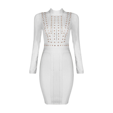 Bqueen 2017 Mesh Studded Long Sleeve Bandage Dress For Women Sexy Club Bodycon Dresses Wholesale