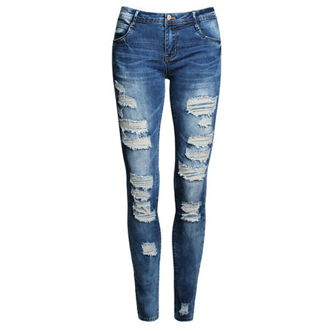 2017 High Street Ladies Cotton Denim Pants Stretch Womens Bleach Ripped Skinny Jeans Denim Jeans For Female Fashion Pencil Jeans