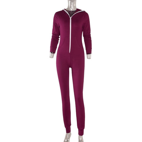 8cee461cfb8a ... 2017 Casual Women One Piece Outfits Jumpsuits Long Sleeve Bodycon Front  Zipper Hooded Long Pants Sexy ...