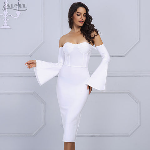 Adyce 2017 New Fashion Women Bandage Dress Elegant White Black Sexy Flare Sleeve Midi Celebrity Evening Party Dress Vestidos
