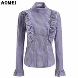 Autumn Plaid Blouse Women Elegant Shirt with Ruffle Trim Vintage Peplum Lady Slimming Design Shirts Casual Tops Clothing Blusas