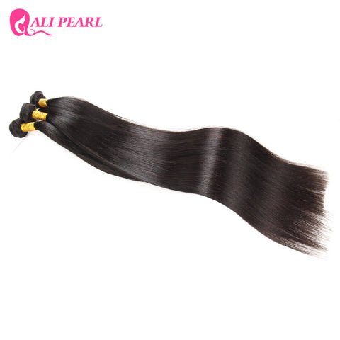 Ali Pearl Hair 100% Brazilian Human Hair Bundles 32-38 Inch Straight Hair Weave 1 Piece Natural Black Non-Remy Hair Extension