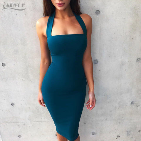 Adyce 2017 Fashion Winter Dress Women Sexy Halter Knee Length Bodycon Bandage Dress Vestidos Elegant Clubwear Party Dress