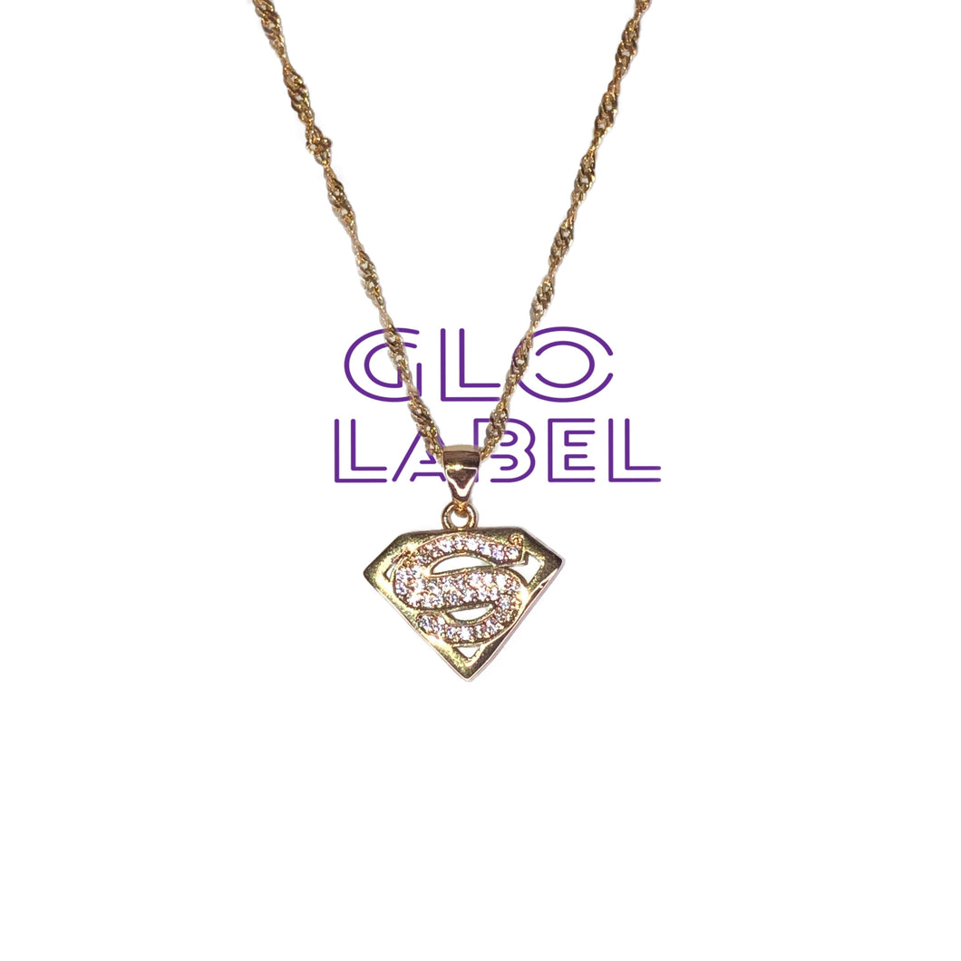 Goldfilled super man necklace