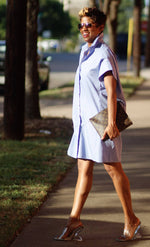 Blue Oxford Shirt | Dress - My Kava Boutique