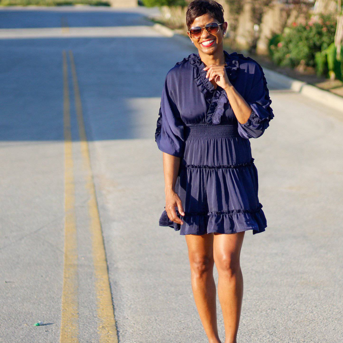 Blue Vibe V Neck Ruffle | Swing Mini Dress - My Kava Boutique