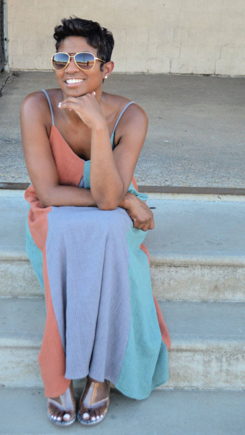 Color blocked Midi | Sundress - My Kava Boutique