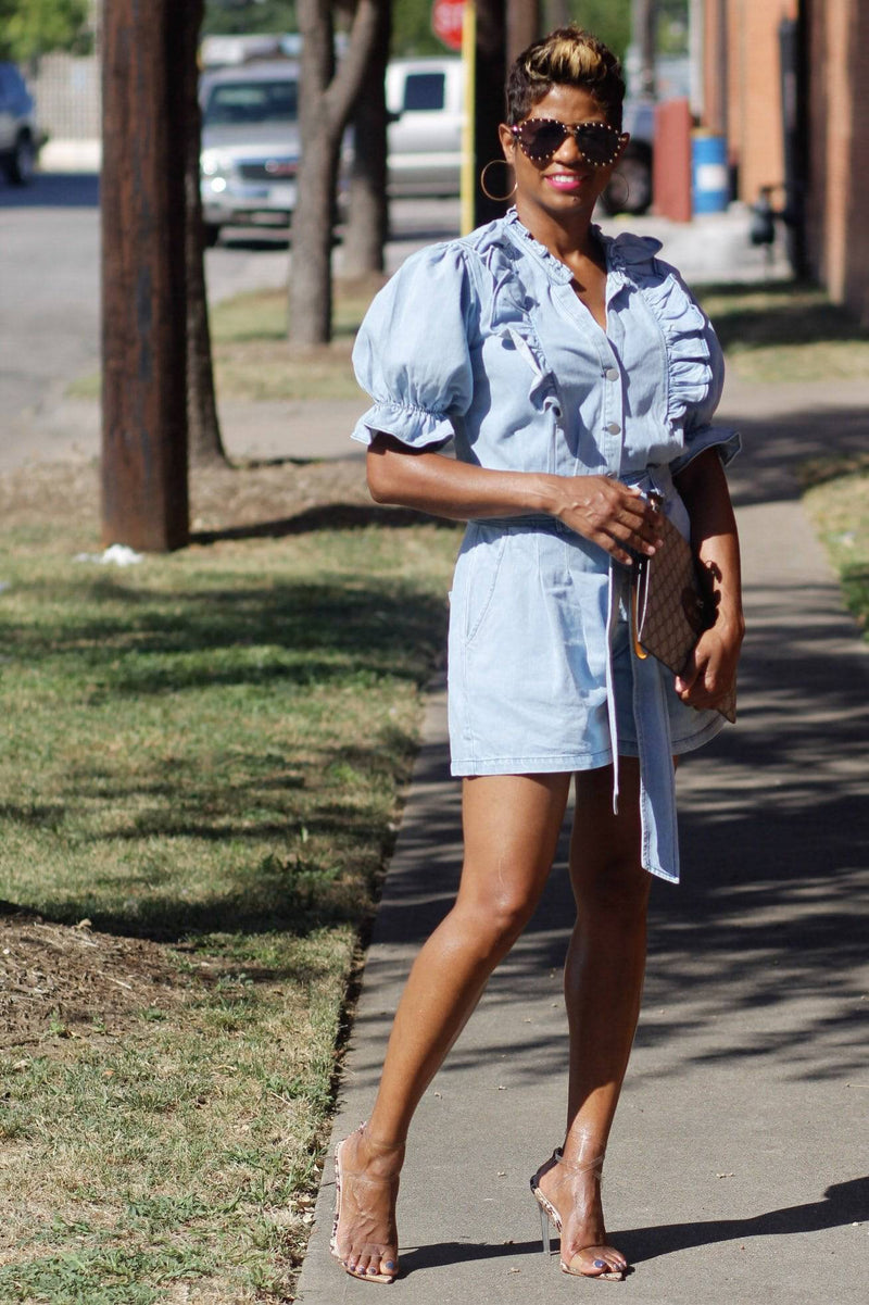 Denim Puff Sleeve | Romper - My Kava Boutique