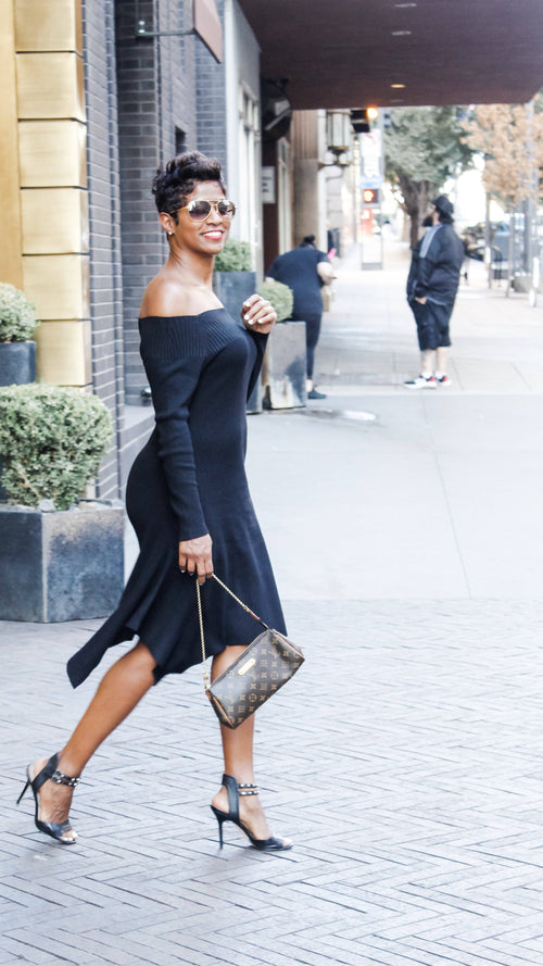 Elegant Black Sweater | Midi Dress - My Kava Boutique