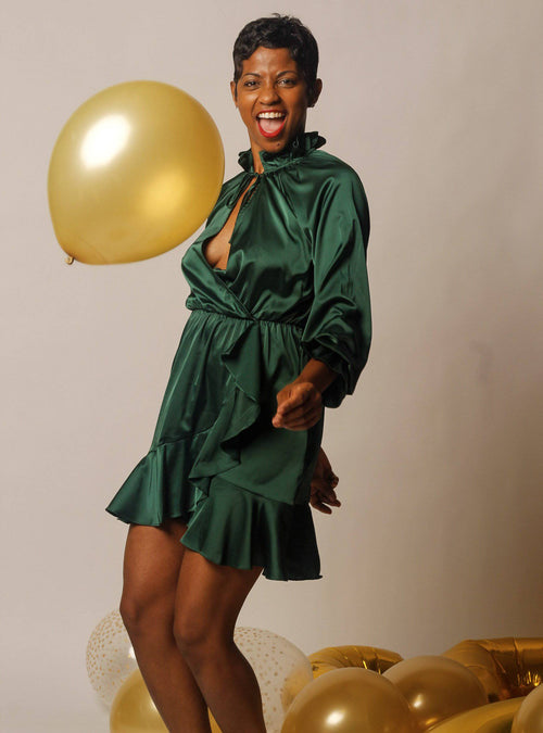 Green Satin Wrap | Dress - My Kava Boutique