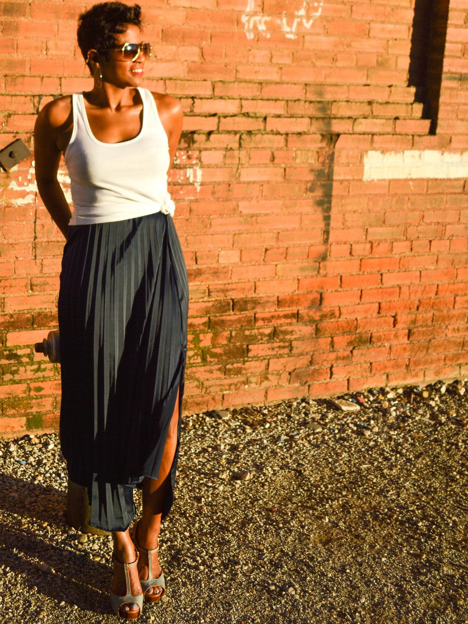 Navy Asymmetrical Pleated Skirt - My Kava Boutique