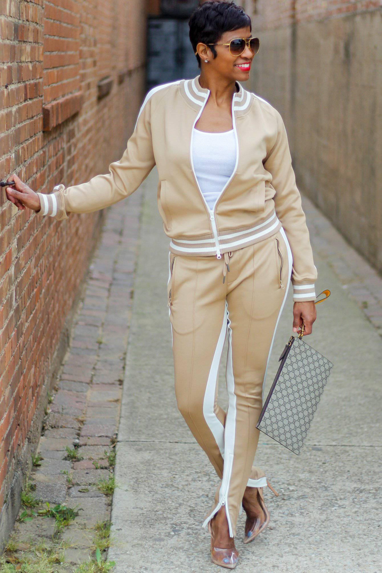 Tan with open shoulder | Jogger Set - My Kava Boutique