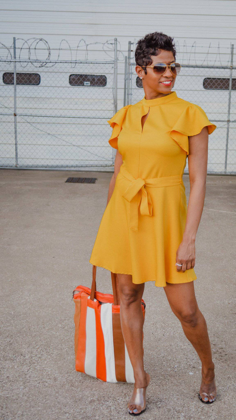 Yellow Flare Mini Dress - My Kava Boutique