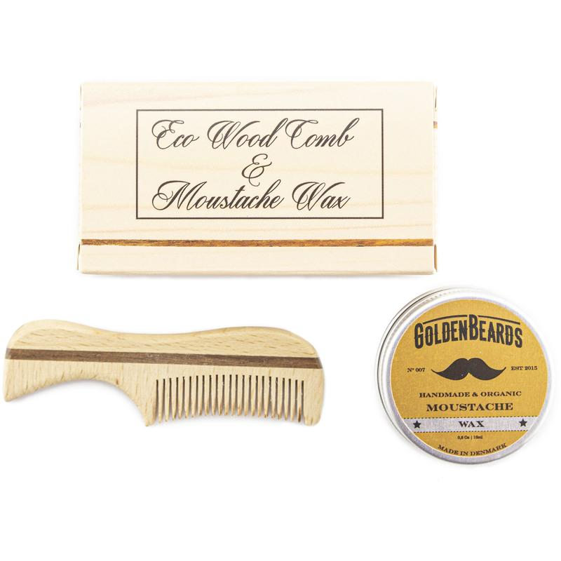 GOLDEN BEARDS SET CERA ORGANICA PARA BIGOTES 15 ml. Y PEINETA ECOLOGICA