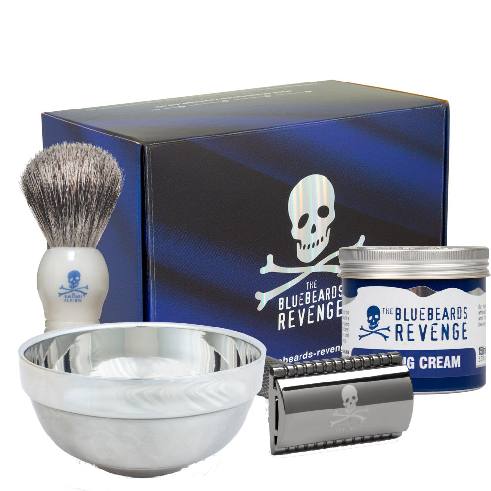 THE BLUEBEARDS REVENGE SET BARBERO CON MAQUINA DOBLE HOJA