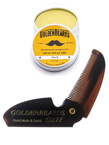 GOLDEN BEARDS SET CERA ORGANICA PARA BIGOTES 15 ml. Y PEINETA PLEGABLE