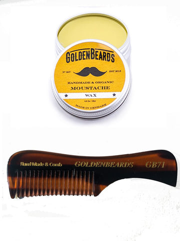GOLDEN BEARDS SET CERA ORGANICA PARA BIGOTES 15 ml. Y PEINETA