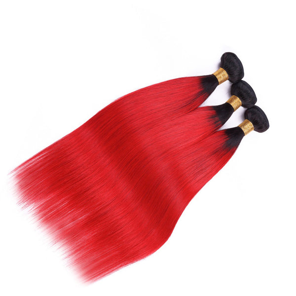 1b/Red Brazilian Straight Bundles