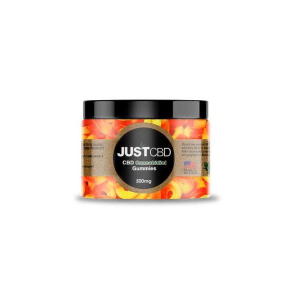 500mg Tub of JustCBD Gummy Peach Rings Candy