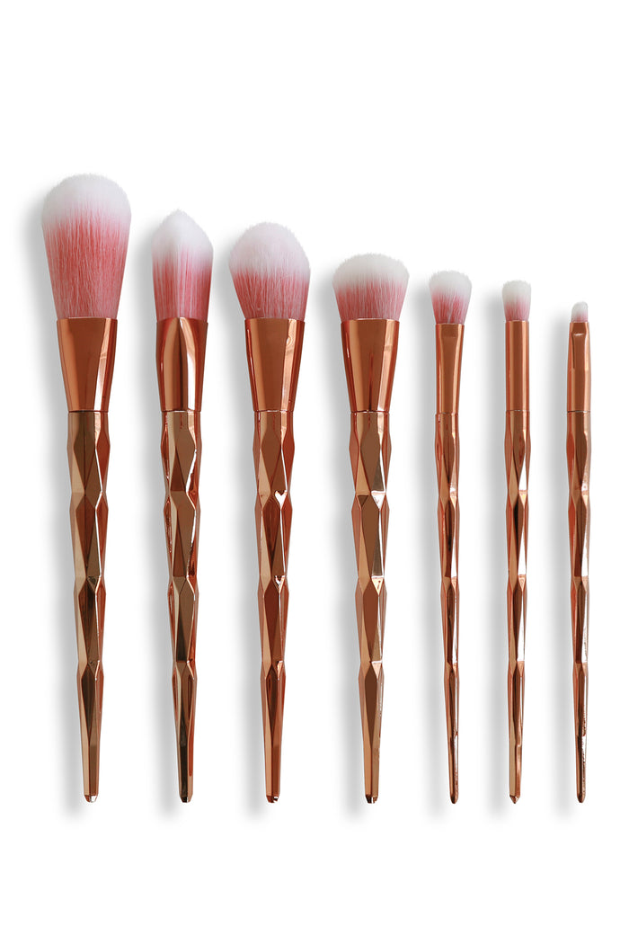 Diamond Makeup Brush Set - Gold