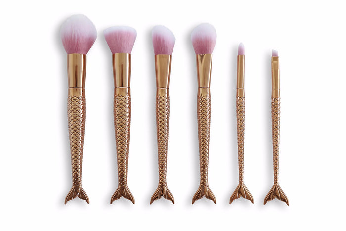 Mermaid Makeup Brush Set - Gold