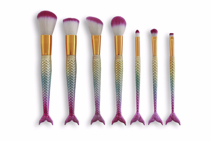 Mermaid Makeup Brush Set - Light Rainbow