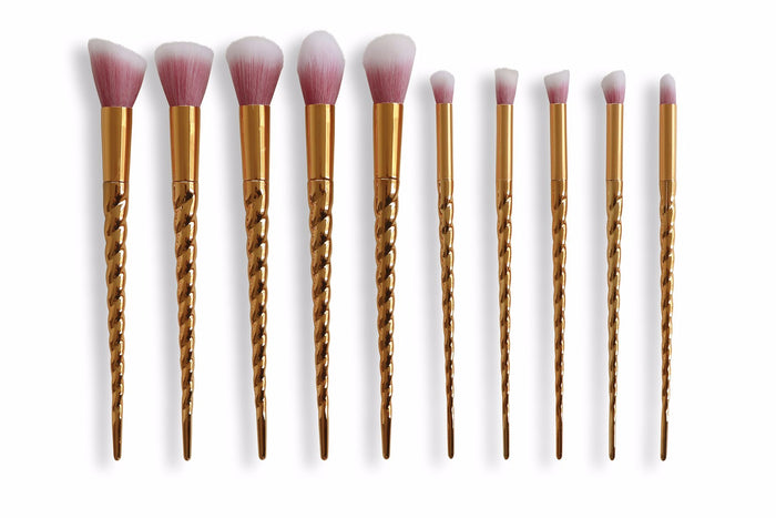 Unicorn Makeup Brush Set - Gold