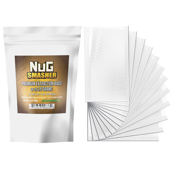 NugSmasher 3.5 Gram Premium Extraction Rosin Bags - Pack of 12 (37u, 90u, 120u, 160u)