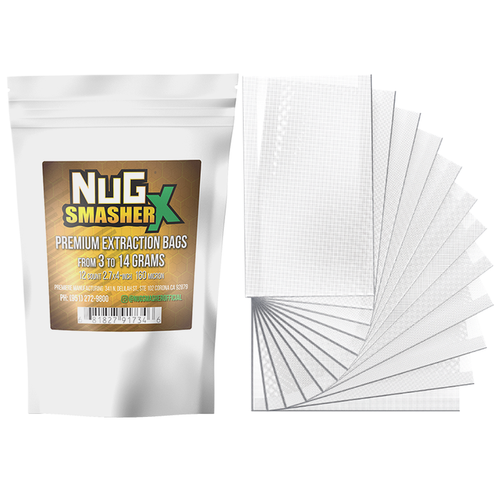 NugSmasher X Premium Extraction Rosin Filter Bags  - Pack of 12 (37u, 90u, 120u, 160u)