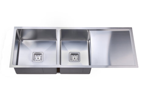 Deep 1 & 3/4 Square Bowl Sink with Drainer