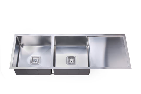 Deep Double Square Bowl Sink with Drainer