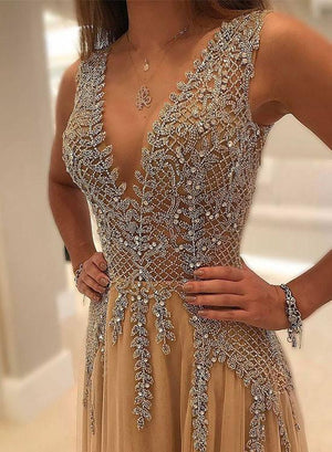v neck long prom champagne dress
