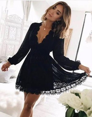 scalop summer blacklace dress