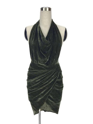 Halterneck Velvet Club Dress