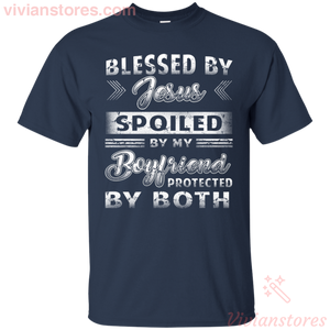 Blessed By Jesus Spoiled By My Boyfriend Women T-shirt-Vivianstores