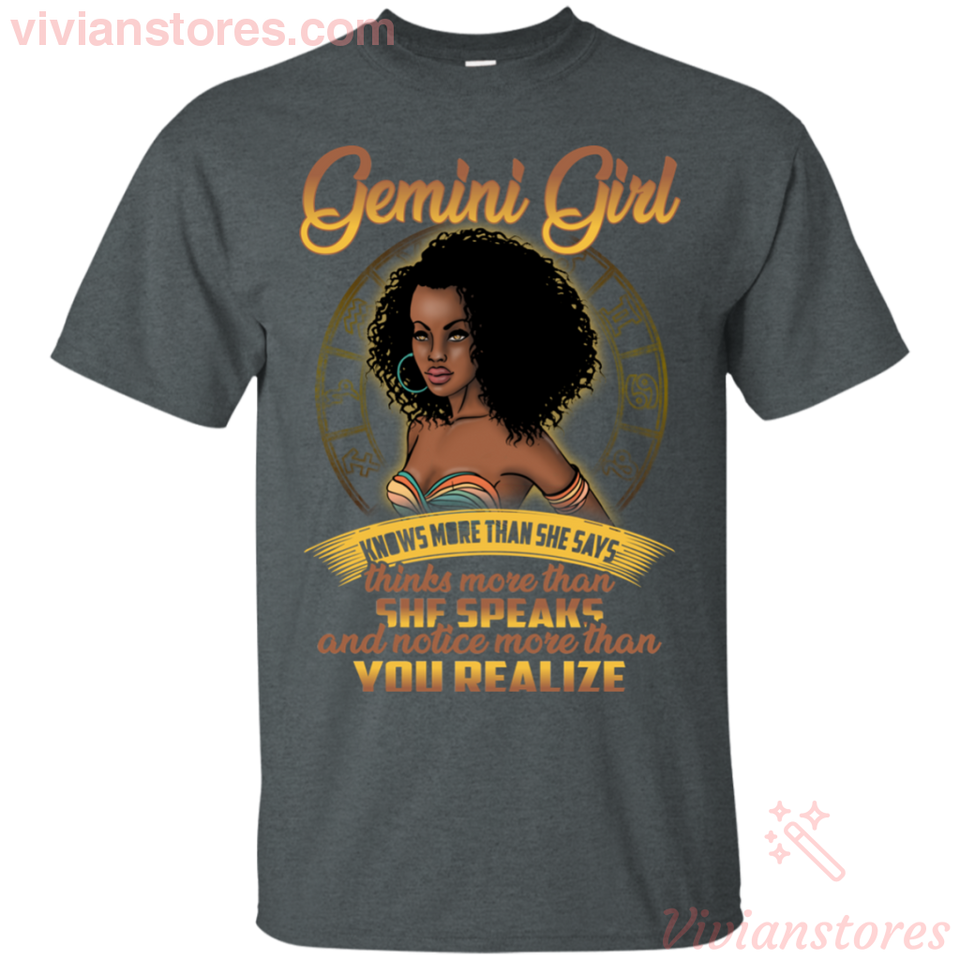 Gemini Girl She Know More Than She Says Black Woman Birthday T-shirt - Vivianstores.com