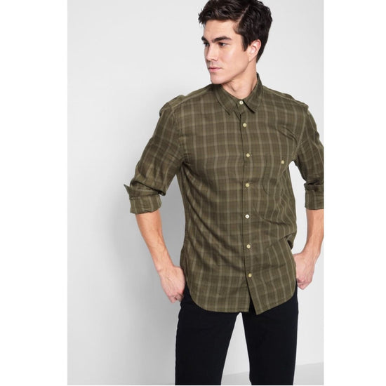 7 For All Mankind - 7 for all mankind LONG SLEEVE TONAL SHIRT IN OLIVE - Men - AM0272B114