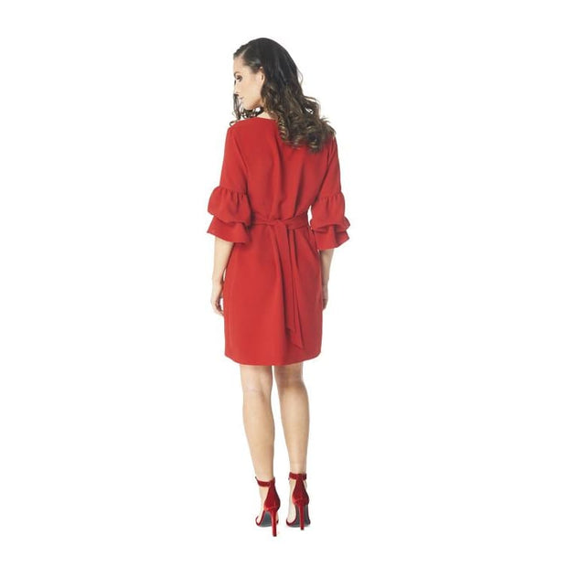 Arianne - 8419 Caprice Red Ruffle Sleeve Dress by Arianne - Dresses