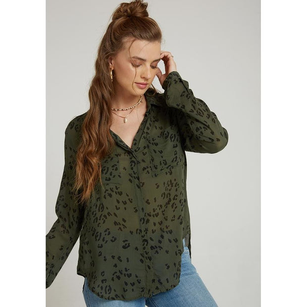 BELLA DAHL - Animal Print Hipster Shirt - Top - B2893-A36-1