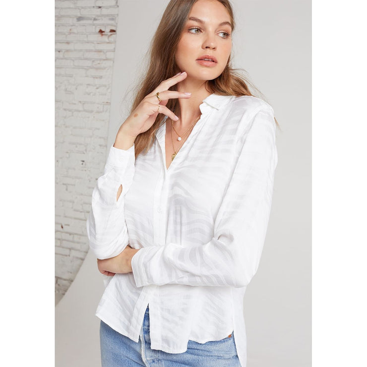 BELLA DAHL - B2978-C37 White Zebra PRNT Button Down - Blouses - B2978-C37-302