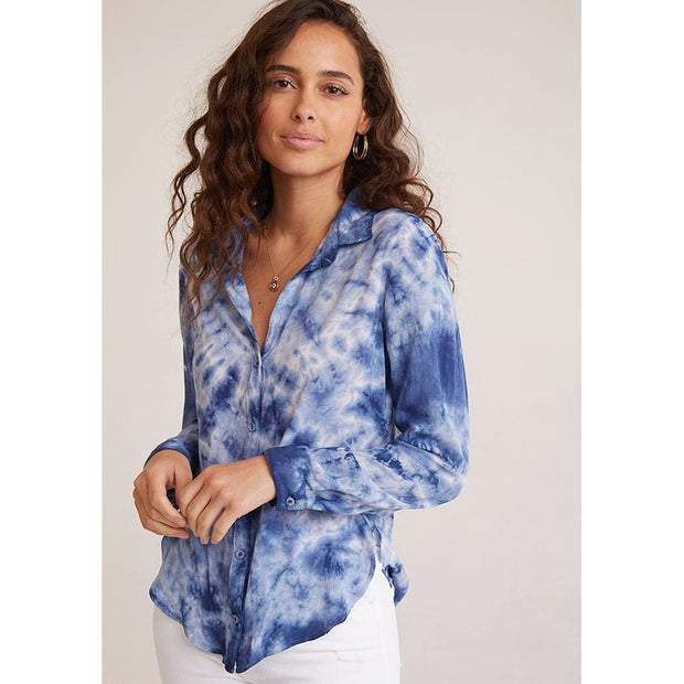 BELLA DAHL - Button Down Shirt in Indigo Tie Dye - Top - 2978-669-440
