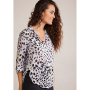 BELLA DAHL - Flowy Button Down In Ink Dots Print - Top - B4395-B14-304