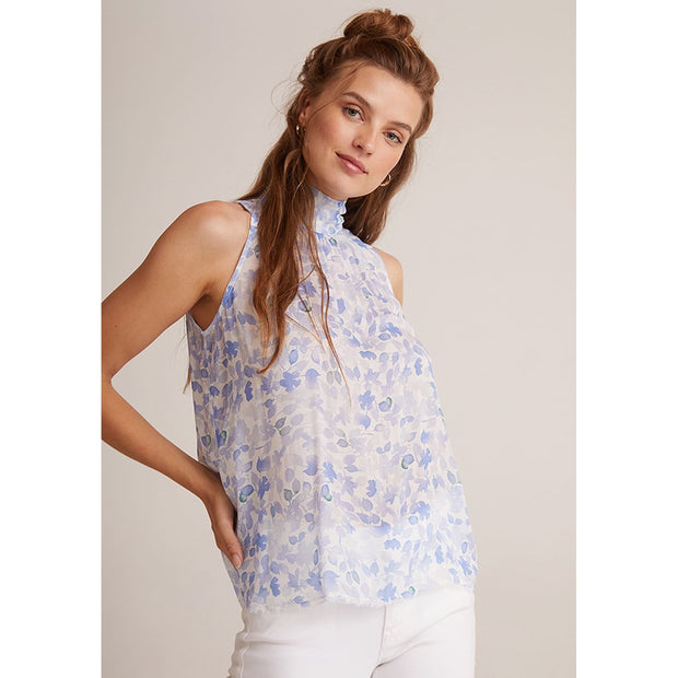 BELLA DAHL - Flowy Tie Neck Tank in Malibu Blue - Top - B4264-B06-304