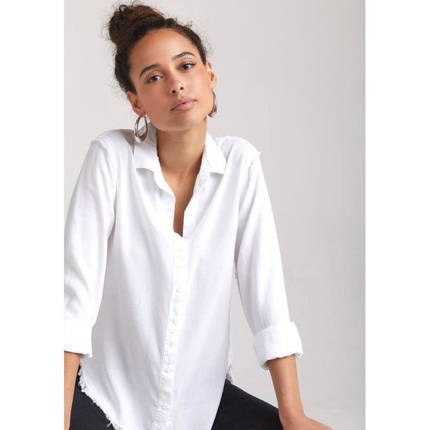BELLA DAHL - Fray Button Up White - Top - B4022-654